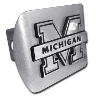 University of Michigan Banner Emblem on Brushed Hitch Cover
