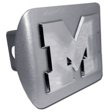 University of Michigan Emblem on Brushed Hitch Cover
