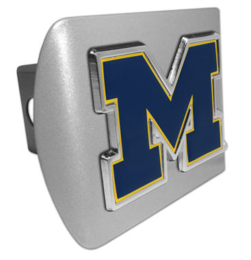 University of Michigan Navy Emblem on Brushed Hitch Cover