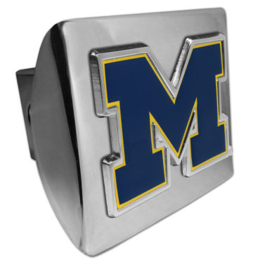 University of Michigan Navy Emblem on Chrome Hitch Cover