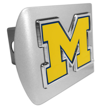 University of Michigan Yellow Emblem on Brushed Metal Hitch Cover
