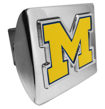 University of Michigan Yellow Emblem on Chrome Hitch Cover