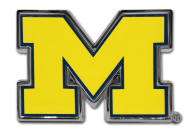 University of Michigan Yellow Chrome Emblem