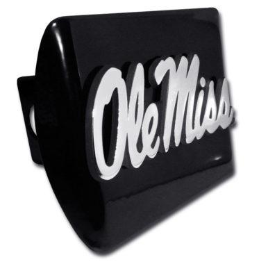 Ole Miss Emblem on Black Hitch Cover