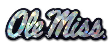 Ole Miss Silver 3D Reflective Decal
