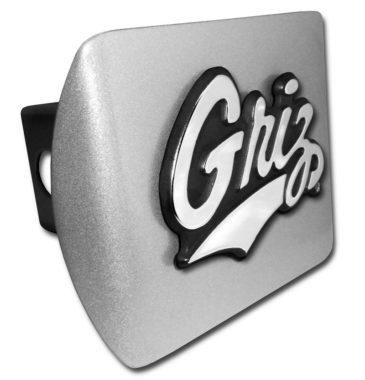 University of Montana Griz Emblem on Brushed Hitch Cover