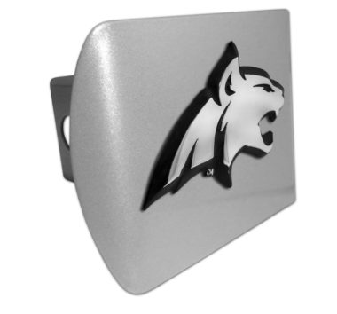 Montana State Bobcat Emblem on Brushed Hitch Cover