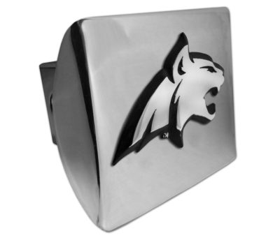 Montana State Bobcat Emblem on Shiny Chrome Hitch Cover