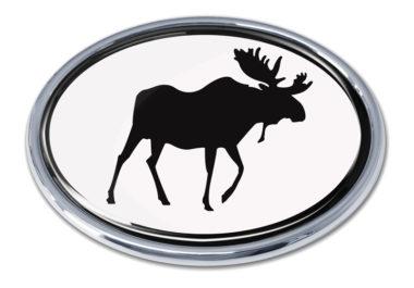 Moose White Chrome Emblem