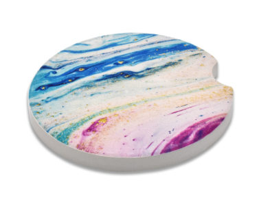 Marble Color Car Coaster - 2 Pack