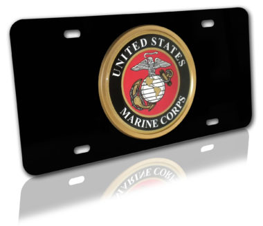 Marines Seal on Black License Plate