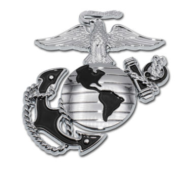 Marines Premium Anchor Chrome Emblem with Black Accent