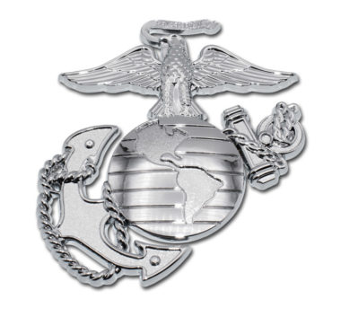 Marines Premium Anchor Chrome Emblem with Silver Accent