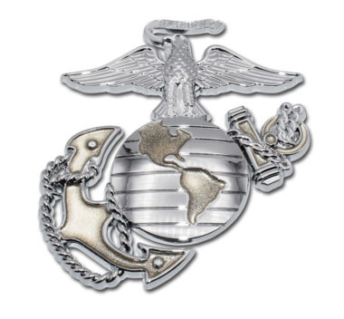 Marines Premium Anchor Chrome Emblem with Gold Accent