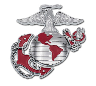 Marines Premium Anchor Chrome Emblem with Red Accent