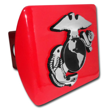 Marines Anchor Emblem on Red Hitch Cover