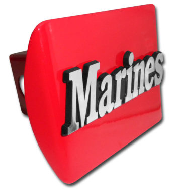 Marines Emblem on Red Hitch Cover