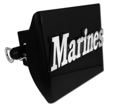 Marines Emblem on Black Plastic Hitch Cover