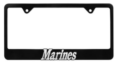 Marines Black License Plate Frame