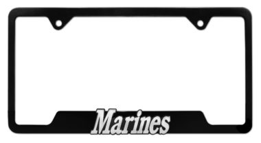 Marines Black Open License Plate Frame