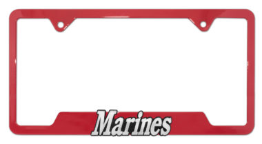 Marines Red Open License Plate Frame