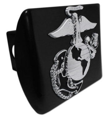Marines Premium Emblem with Black Accent on Black Metal Hitch Cover