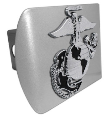 Marines Premium Emblem with Black Accent on Brushed Metal Hitch Cover