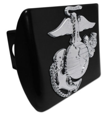 Marines Premium Emblem with Silver Accent on Black Metal Hitch Cover