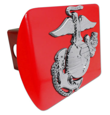Marines Premium Emblem with Silver Accent on Red Metal Hitch Cover