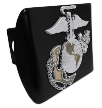 Marines Premium Emblem with Gold Accent on Black Metal Hitch Cover