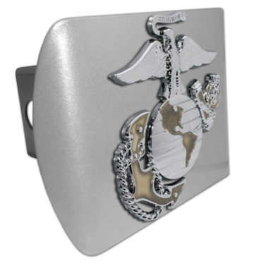 Marines Premium Emblem with Gold Accent on Brushed Metal Hitch Cover