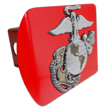 Marines Premium Emblem with Gold Accent on Red Metal Hitch Cover image