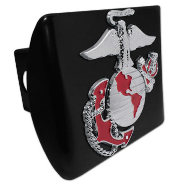 Marines Premium Emblem with Red Accent on Black Metal Hitch Cover image