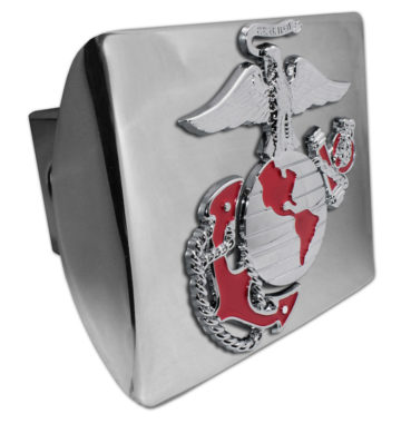 Marines Premium Emblem with Red Accent on Chrome Metal Hitch Cover image
