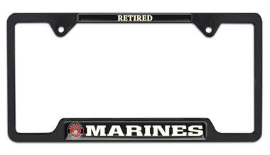 Full-Color Marines Retired Black Open License Plate Frame