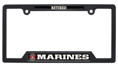 Marines Retired Black Plastic Open License Plate Frame image