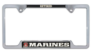 Full-Color Marines Retired Open License Plate Frame
