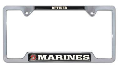 Full-Color Marines Retired Open License Plate Frame image