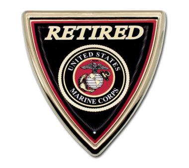 Marines Retired Shield Chrome Emblem