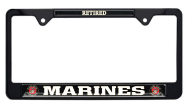 Full-Color Marines Retired Black License Plate Frame