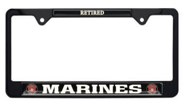Full-Color Marines Retired Black License Plate Frame image