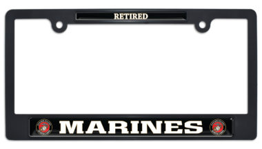 Full-Color Marines Retired Black Plastic License Plate Frame image