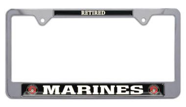 Full-Color Marines Retired License Plate Frame