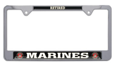 Full-Color Marines Retired License Plate Frame image