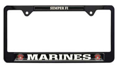 Full-Color Marines Semper Fi Black License Plate Frame image