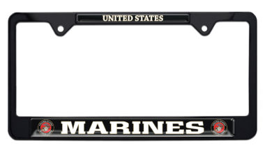 Full-Color Marines USA Black License Plate Frame