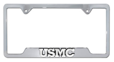 Marines USMC Chrome Open License Plate Frame