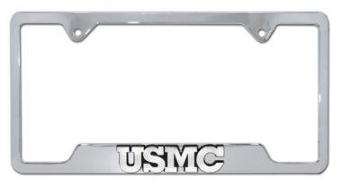 USMC Marines Chrome Open License Plate Frame