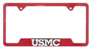 Marines USMC Red Open License Plate Frame