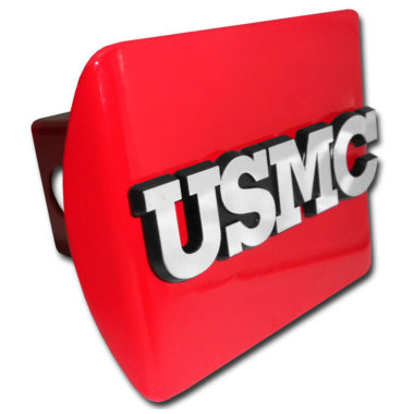 Marines USMC Emblem on Red Hitch Cover